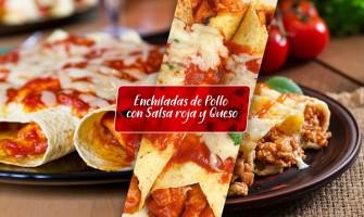 Enchiladas de pollo con salsa roja y queso