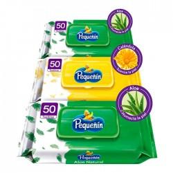 Pack 3 Wipes Pequenin  50Un
