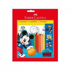Crayones Faber Mickey 12Col+Cart+Sticker