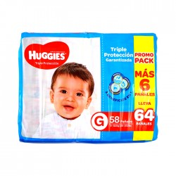 Panal Huggies Triple Protección G 2X64